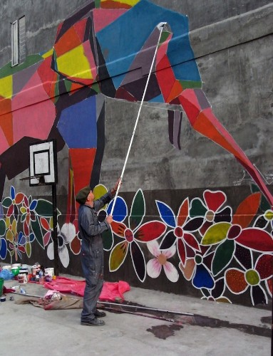 Origami-Style Street Art Brings Color to Nepal