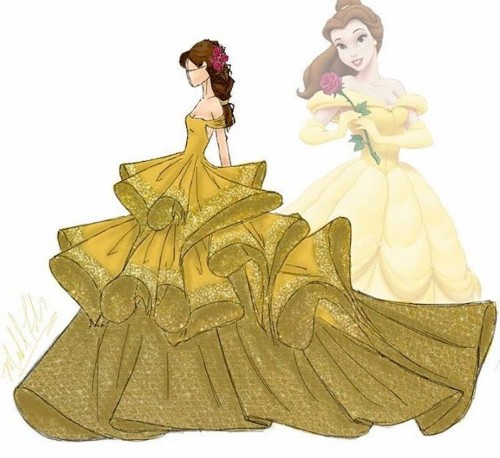Designer Reimagines Disney Princess Gowns as Gorgeous Fashion Illustrations
