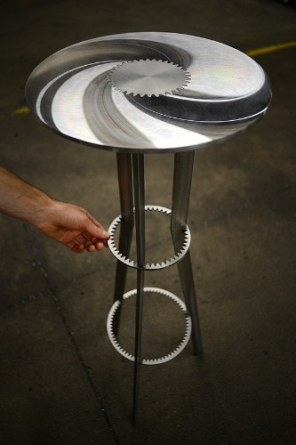 Machine Gears Transformed into Modern Metal Furniture
