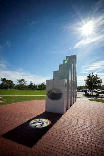 Perfectly Aligned Pillars Spotlight US Seal on Veterans Day