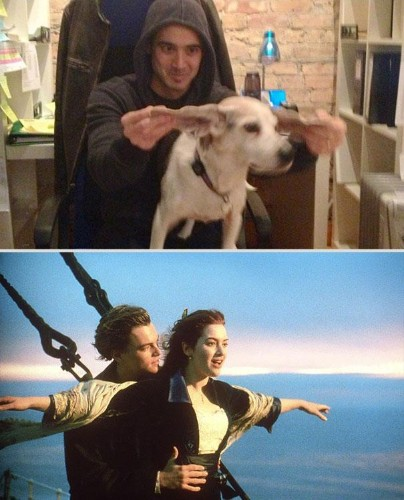 Man Hilariously Recreates Romance Movie Scenes with Boss's Dog