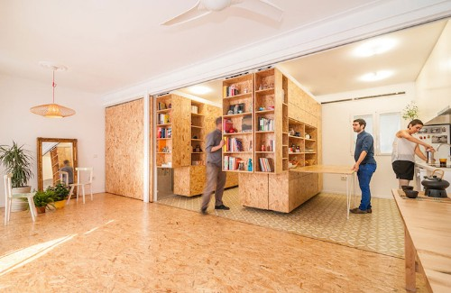 Movable Shelving System Transforms a Single Room into Separate Spaces