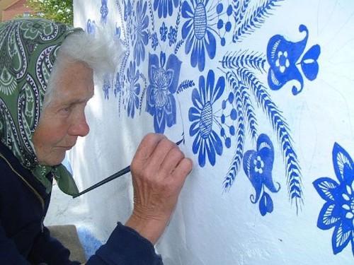 Grandma Paints Houses in the Czech Village of Louka
