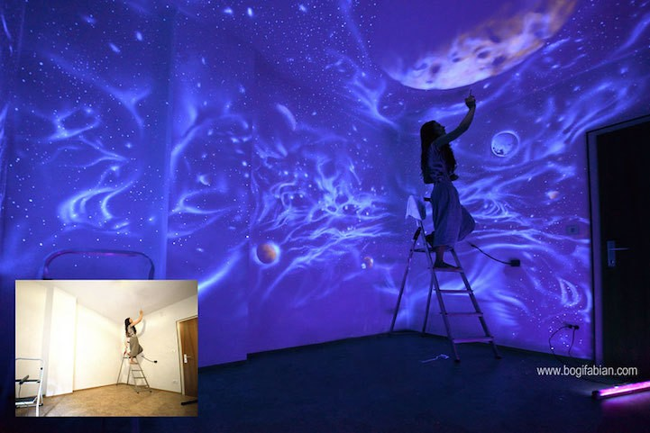 Gorgeous Glow-in-the-Dark Murals Only Visible Under UV Light