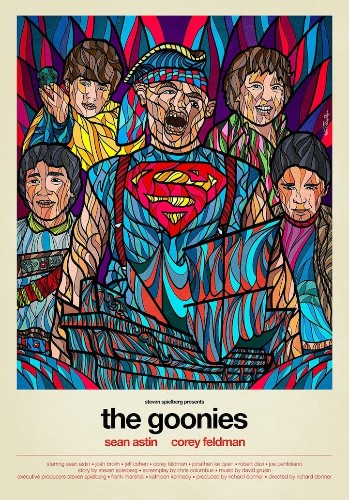Classic 80's Movie Posters in the Style of Stained Glass