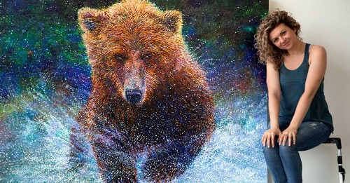 New Large-Scale Finger Paintings of Vibrant Animals in Action by Iris Scott