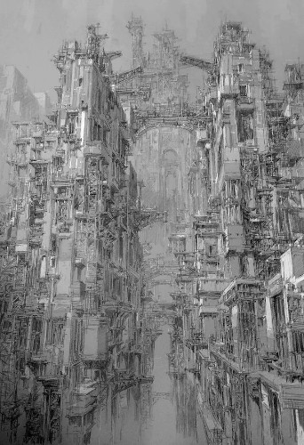 Incredible Pen Drawings Visualize Futuristic Cities With Densely Detailed Architecture