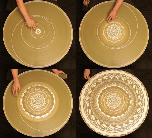 Hypnotic Patterns Drawn on Spinning Potter's Wheel
