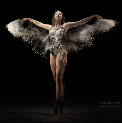 Gorgeous Wings of a Dancer Revealed through Slow-Motion Flour Dance Video