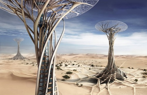 """""""Sand Babel"""" Desert Skyscrapers Uses Sand in Construction"""