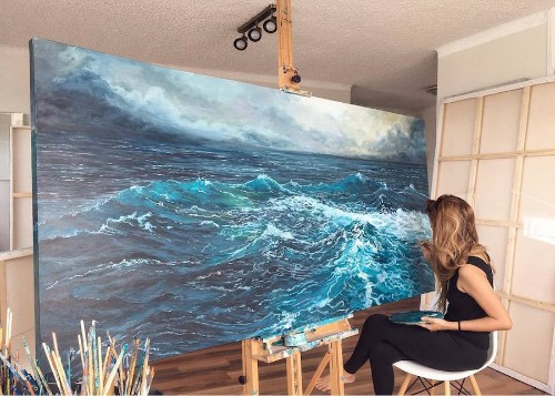 Energetic Large-Scale Paintings of Splashing Ocean Waves