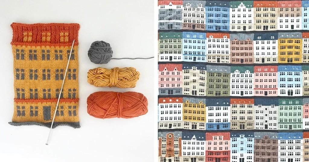 Artist Knits Giant Blanket Celebrating Copenhagen's Colorfully Distinct Architecture