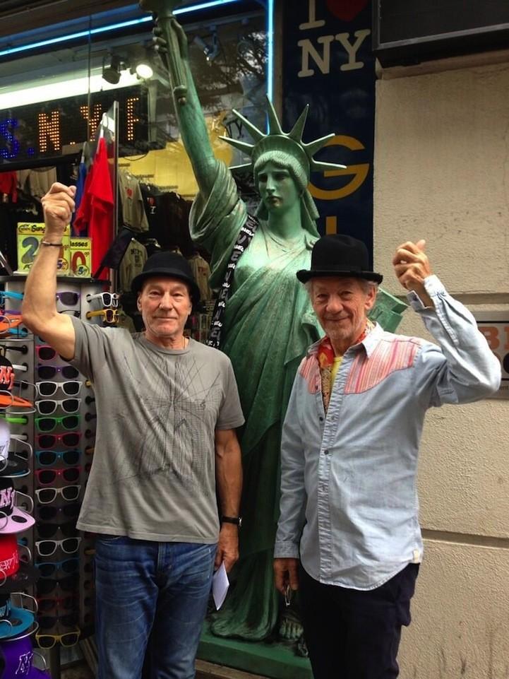 Sir Ian McKellen and Sir Patrick Stewart Act Like NYC Tourists