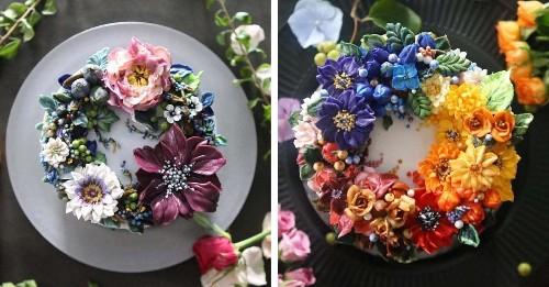 Lifelike Buttercream Flowers Transform Ordinary Cakes into Bountiful Bouquets