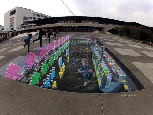 Impressive Space Invaders 3D Street Art in Switzerland
