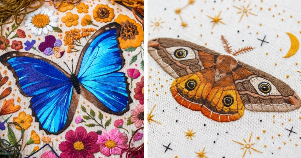 Embroidery Artist Stitches Colorful Insects and Flowers With Painterly Detail
