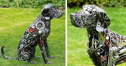 Artist Turns Nuts, Bolts, and Scrap Metal Into Life-Size Animal Sculptures