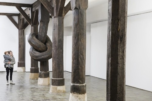 450-Year-Old Wood Column Tied Into a Knot Is a Logic-Defying Art Installation