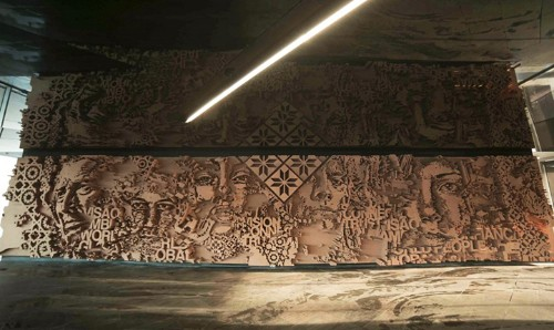 Amazingly Detailed Chiseled Cork Sculpture by Vhils