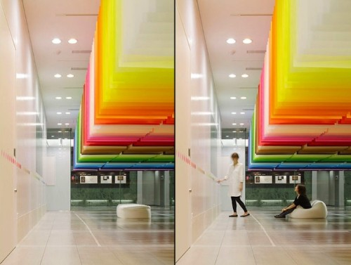 Colorful Floating Rainbow Created with 840 Sheets of Paper