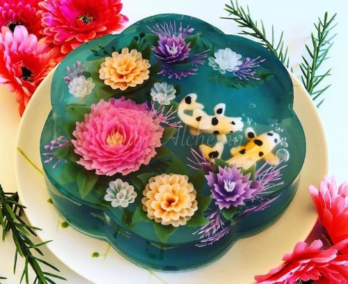 Food Artist Creates Nature-Inspired Jelly Cakes That Look Like Pretty Koi Ponds