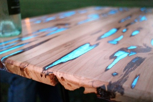 Striking Handmade Cypress Tables Crafted with Glow-in-the-Dark Resin