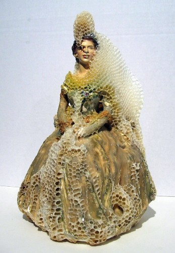 Honeybees Cover Porcelain Sculptures in Honeycombs