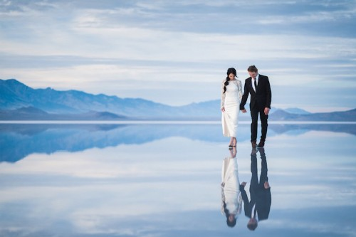 Beautifully Surreal Wedding Photos Show Couple Walking on Water