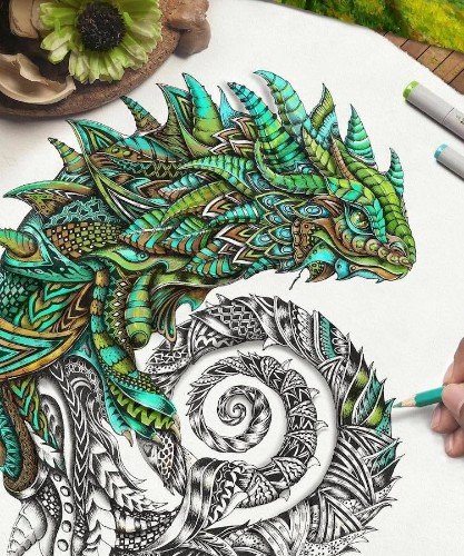 Majestic Creatures Drawn in Colorful Zentangle Patterns Pop Off Page