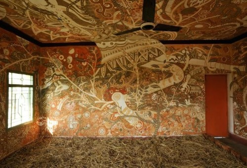 Stunningly Intricate Mud Paintings Cover Classroom Walls