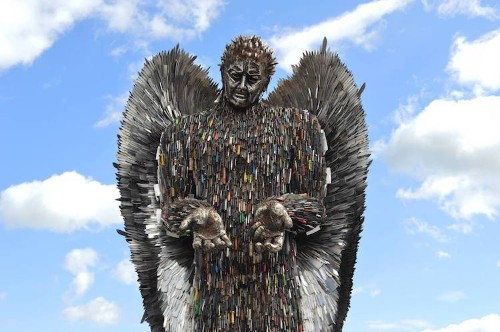 Giant Angel Formed With Over 100,000 Knives Confiscated by Police