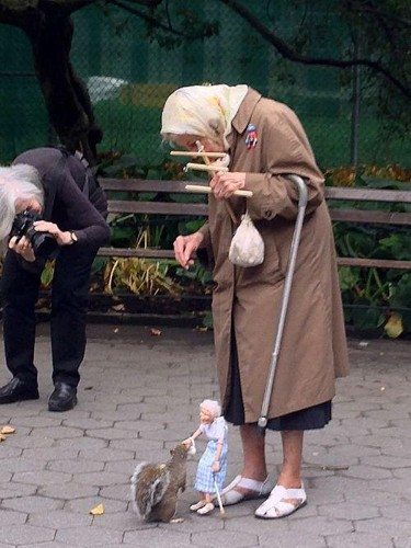 Photoshop Battle Results in Hilarious Images of Old Lady Feeding a Squirrel with a Puppet