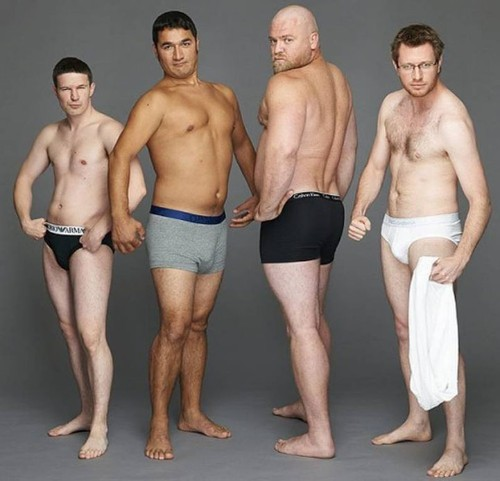 Real Men Pose Next to Famous Underwear Ads