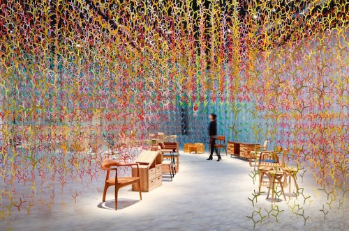 Ethereal Installation Fills Space with 20,000 Colorful Branches that Dangle from Ceiling