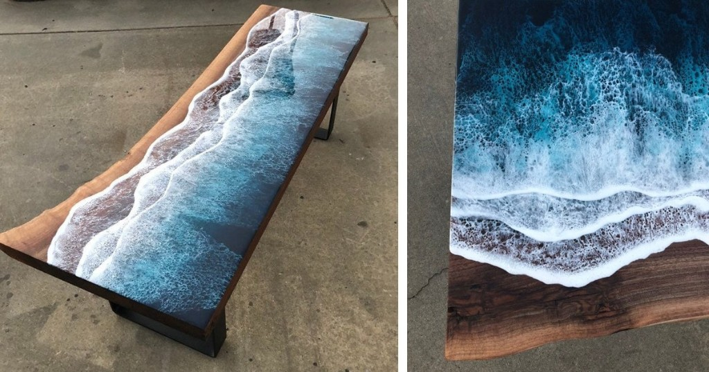 Amazing Wood and Resin Ocean Coast Tables Look Like Living Shores With Moving Tides