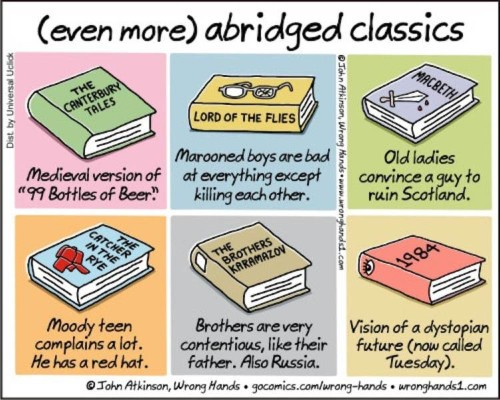 "Cartoonist Shares Funny ""Spoilers"" of Some of Classic Literature's Most Celebrated Tales"