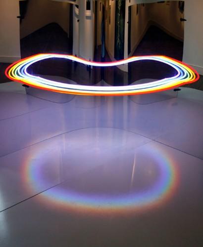 Mirrored Neon Lights Optical Illusion