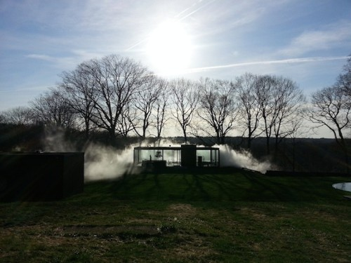 Iconic Glass House Disappears in a Veil of Dense Fog