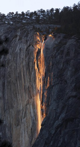 Natural Phenomenon Casts Yosemite Waterfall in a Brilliant Fiery Glow