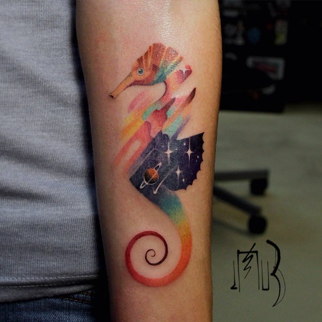 Animal Tattoos Obscured with Colorful Glitches by Lesha Lauz