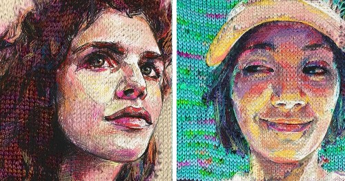 Mixed Media Artist Combines Old and New Techniques to Create Vibrant Knit Portraits
