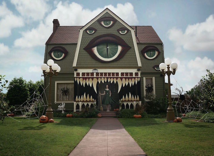 Artist Transforms Parents' Ordinary Home into a Phenomenal Monster House