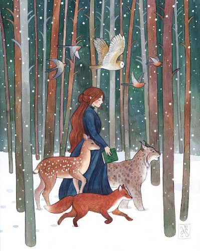 Charming Watercolor Illustrations of Women and Their Animal Companions