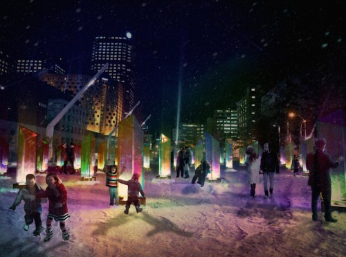 50 Prisms Emit Colorful Lights on the Streets of Montreal