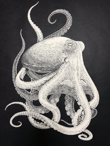 Japanese Artist Hand-Cuts Intricate Octopus From Single Sheet of Paper