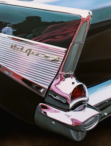 Vintage Cars Glimmer with Stunning Reflections in Hyper-Realistic Painting Series