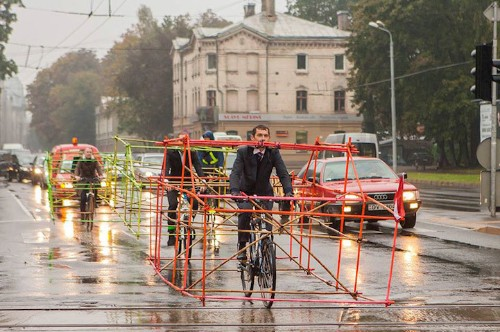 Cyclists Build Skeleton Car Frames to Make a Clever Statement About Vehicle Size