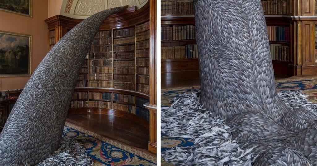 Artist Uses 10,000 Pigeon Feathers in Striking Installation That Cascades From a Bookcase