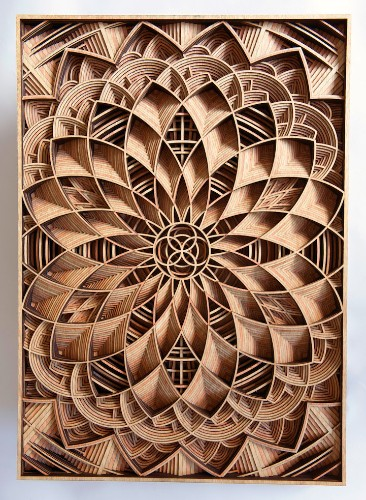 Amazingly Intricate Laser-Cut Wood Relief Sculptures by Gabriel Schama