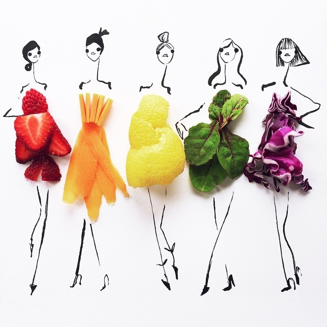 Fashion Illustrations Utilize Colorful Food Items for a Finishing Touch